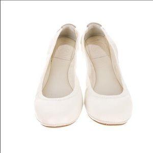 Tory Burch Eddie Ballet Flat White Leather Size 6